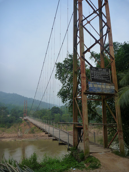 An old suspension bridge across the river