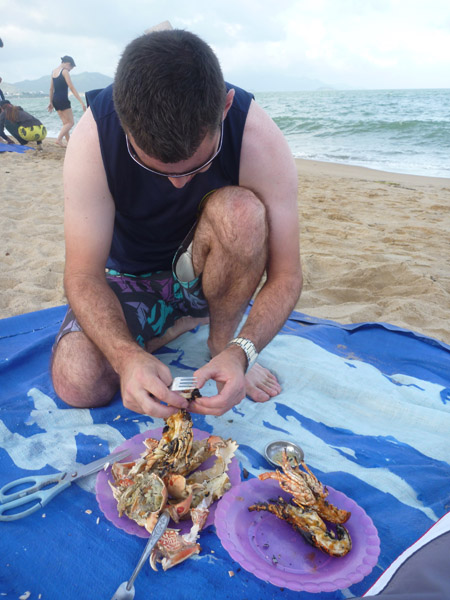 Seafood lunch on the beach