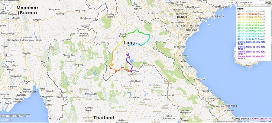 Laos Route Map
